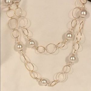 Gold Pearl Crystal Long Hoop Chain Necklace